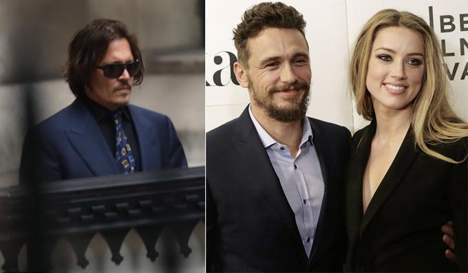 Johnny Depp tại tòa hôm 8/7 (trái), tin rằng Amber Heard ngoại tình với James Franco (phải).