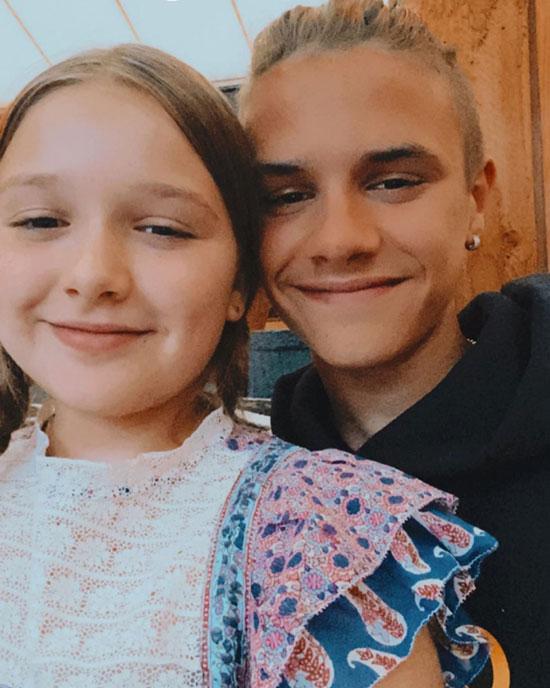 Cậu hai Romeo chia sẻ ảnh chụp với em gái và viết: Chúc mừng sinh nhật 9 tuổi Harper. Anh hy vọng em sẽ có một ngày thật vui, yêu em nhiều.er