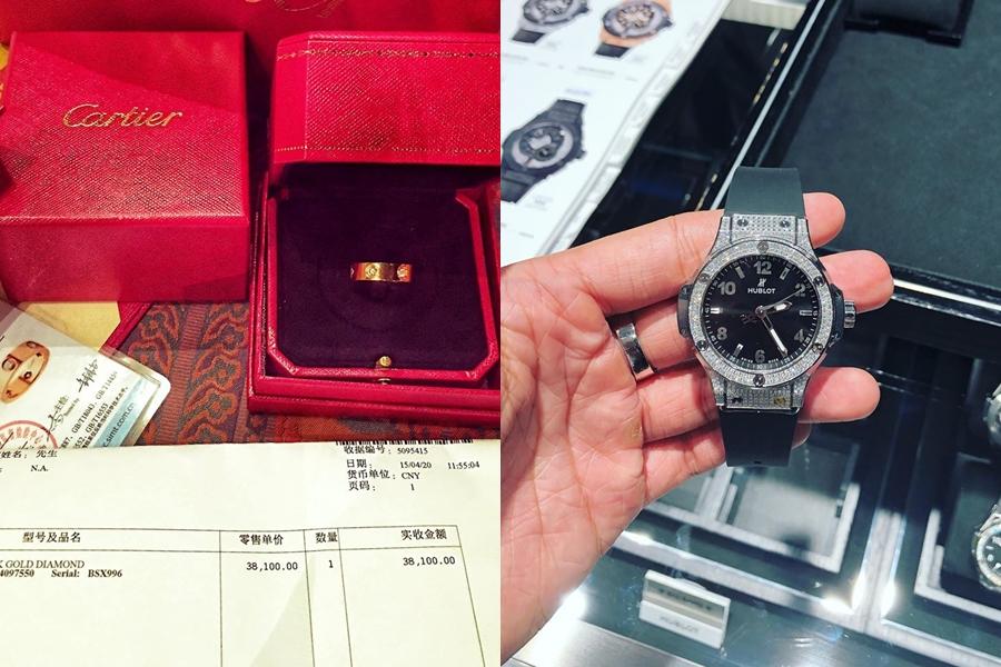 Những món đồ từ đồng hồ, nhẫn giá hàng trăm triệu đồng được tú ông tậu về cho bản thân.