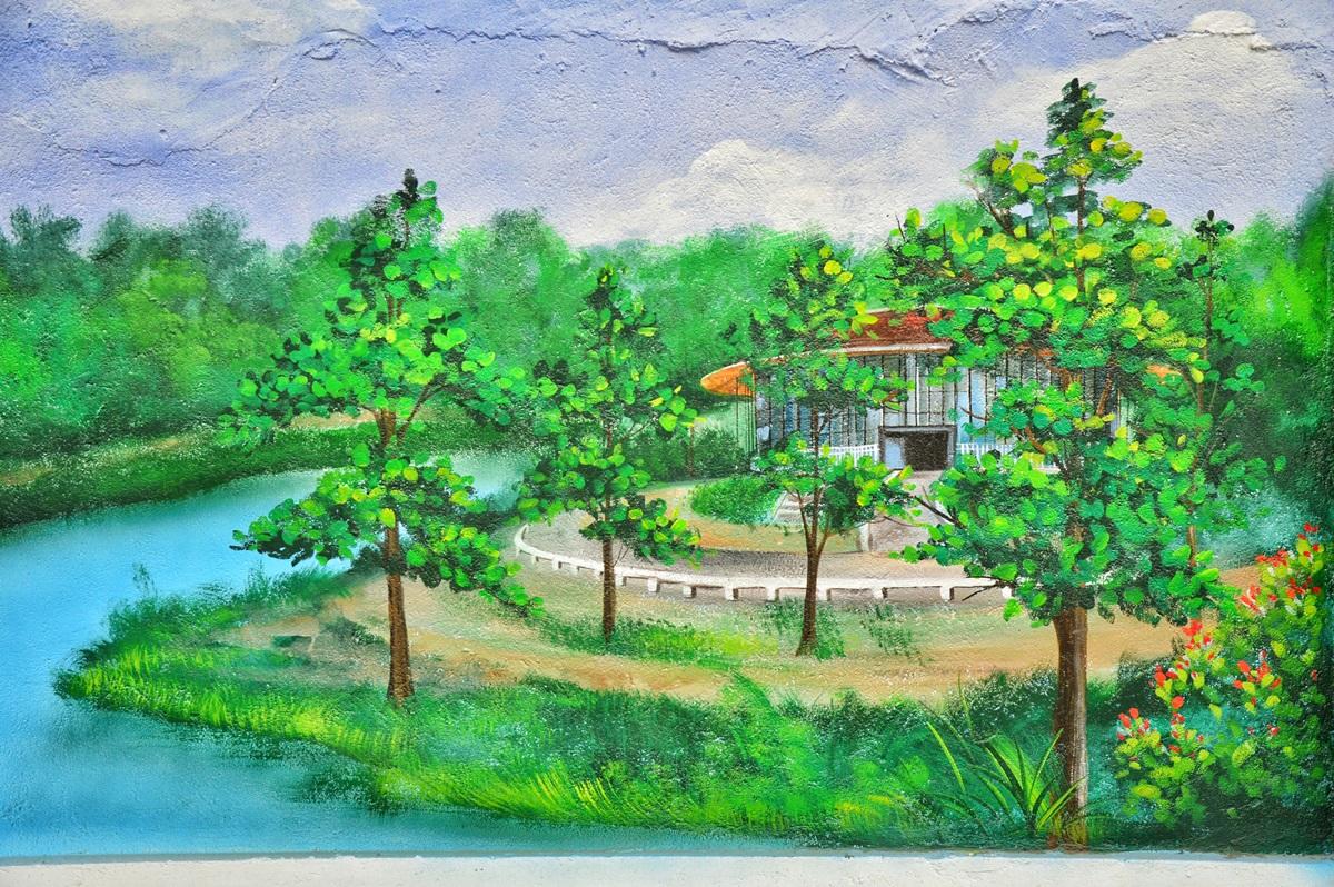Nhà hát Sông Hương - công trình vừa hoàn thành tháng 3 - nép mình sau những hàng cây xanh ngắt.  Hướng đến mô hình nhà hát đa năng hiện đại, đẳng cấp, nơi đây không chỉ phục vụ các hoạt động của Học viện Âm nhạc Huế, mà còn là nơi tổ chức các hoạt động nghệ thuật quy mô lớn và hội thảo, hội nghị trong, ngoài nước.