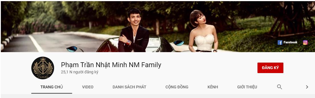 Kênh Youtube của vợ chồng Minh Nhựa.