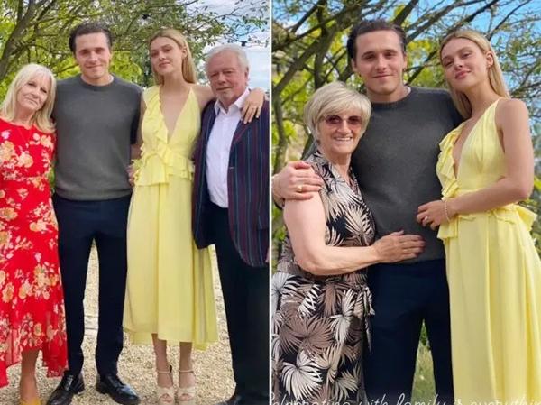 Đôi uyên ương sắp cưới bên ông bà ngoại (trái) và bà nội của Brooklyn. Ảnh:Instagram.