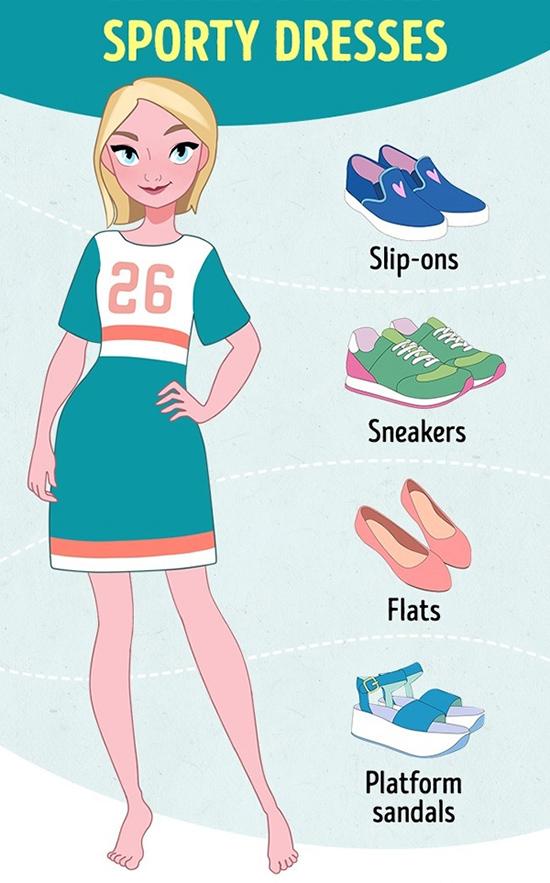 Váy thể thaoĐể hoàn thiện phong cách khỏe khoắn, các nàng nên chọn giày lười (slip-on), giày thể thao, giày bệt hay sandal đế thô.