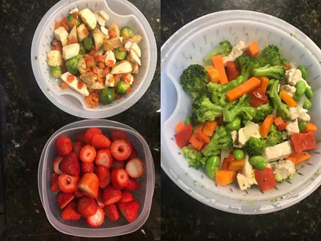 Thực đơn nhiều rau xanh, hạn chế tinh bột giúp cô nàng giảm cân nhanh.