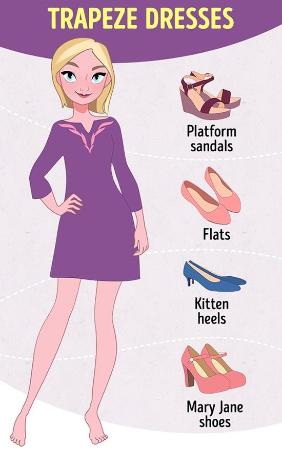 Váy suông nữ tínhThiết kế này khá dễ phối phụ kiện đi kèm. Phái đẹp có thể chọn sandal đế xuồng, giày búp bê hoặc giày Mary Jane dễ thương.