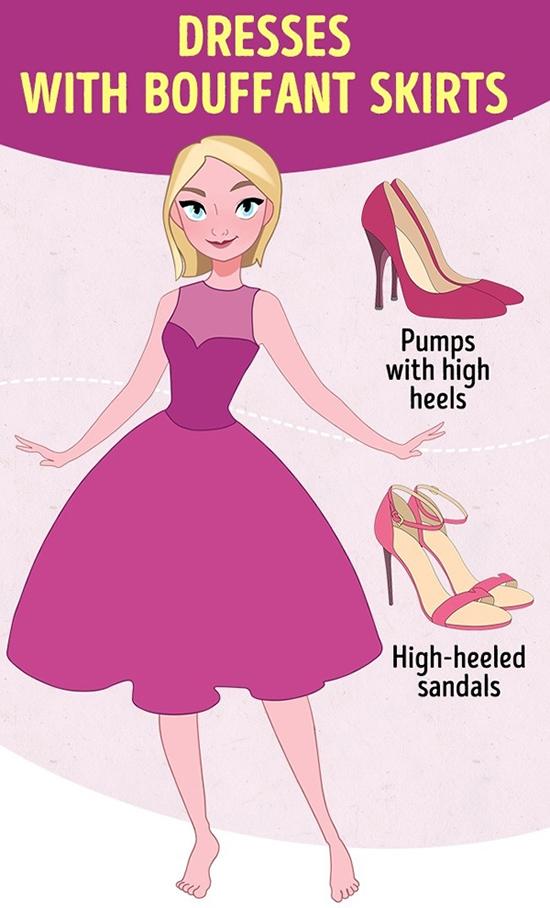 Đầm xòe rộng, dài qua gốiKiểu váy công chúa này ăn ý cùng giày hoặc sandal cao gót. Độ cao của chúng sẽ tạo bố cục hợp lý cho tổng thể và giúp mỗi bước chân thêm duyên dáng.