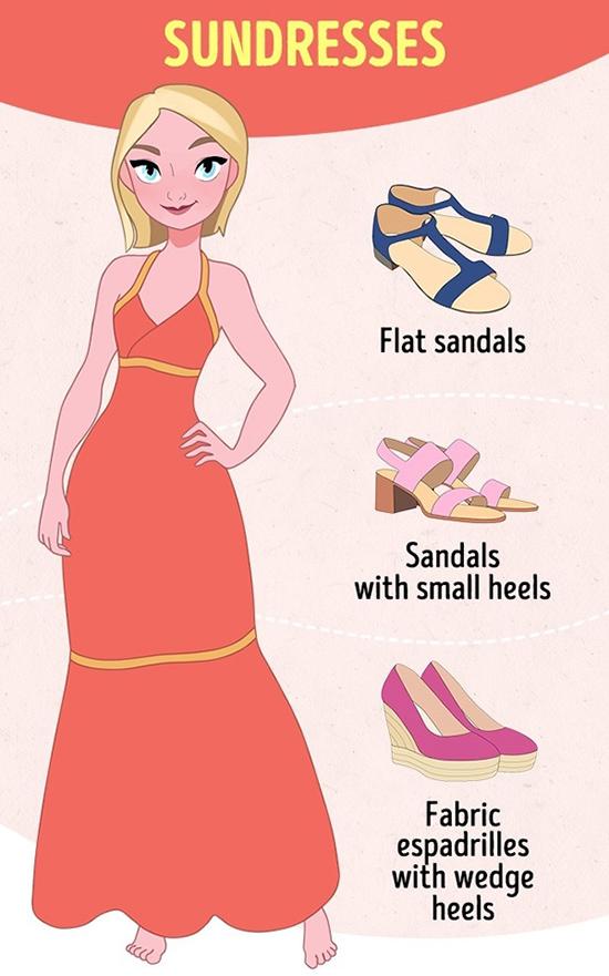 SundressĐây là kiểu đầm nhẹ nhàng, may từ chất liệu mềm, mỏng, thường được mặc khi nắng nóng. Sundress nên phối cùng giày cói đế xuồng, sandal bệt hoặc gót thấp.