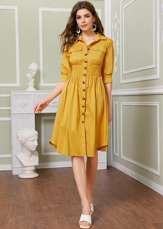 Áp dụng sắc vàng nền nã, bộ đầm sơ mi