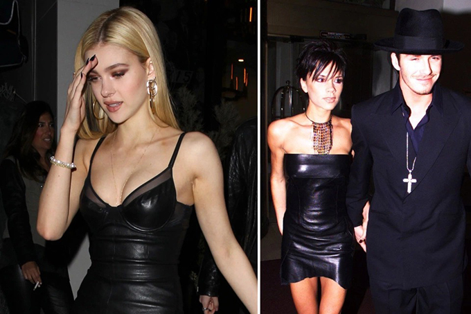 Back in the day, Victoria was not shy of thigh-grazing hemlines – but for a party in 1999, the singer took it up a notch with a sleek leather mini.Nicola wore a racy frock like Posh's at a party in LA three years ago.