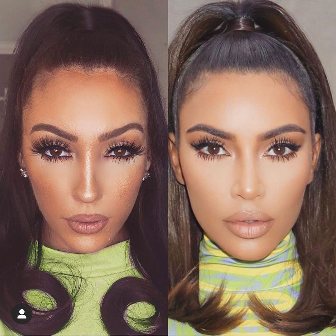 Jennifer Ward (bên trái) hâm mộ Kim Kardashian đến mức cố gắng có gương mặt, vóc dáng giống thần tượng.
