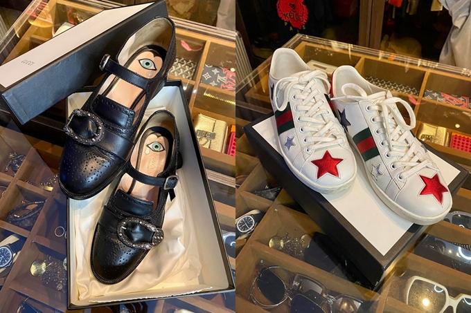 Một số mẫu giày dép đa dạng được Kỳ Duyên giới thiệu trong đợt sale tủ đồ hiệu này.