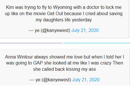 Một vài dòng tweet của Kanye đêm qua.
