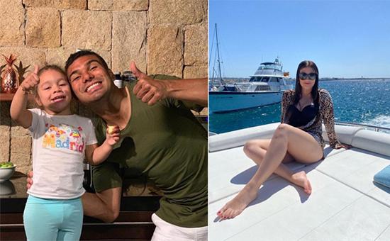 Tiền vệ Casemiro đăng ảnh vui vẻ bên con gái nhưng bà xã lại khoe khoảnh khắc tắm nắng trên du thuyền khiến các fan đoán rằng cả nhà sao Real cũng đang du hý.