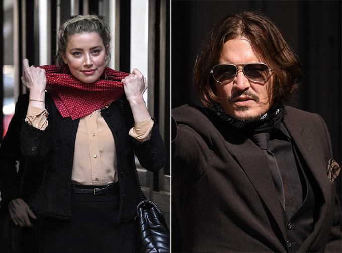 Amber Heard và Johnny Depp đến phiên tòa ngày 21/7. Ảnh: Rex.