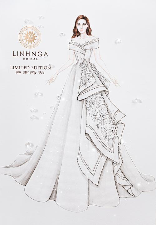 Bản sketch mô tả chiếc váy mang tên mình của Thúy Vân