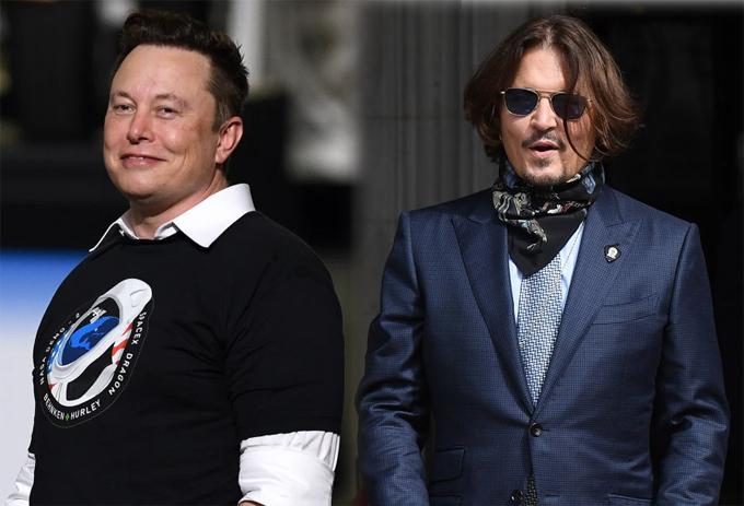 Elon Musk (trái) và Johnny Depp.