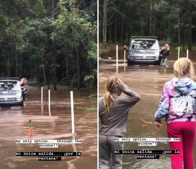 Nữ diễn viên hạ kính ôtô và nhảy xuống nước, để lại chiếc xe ngập bánh.