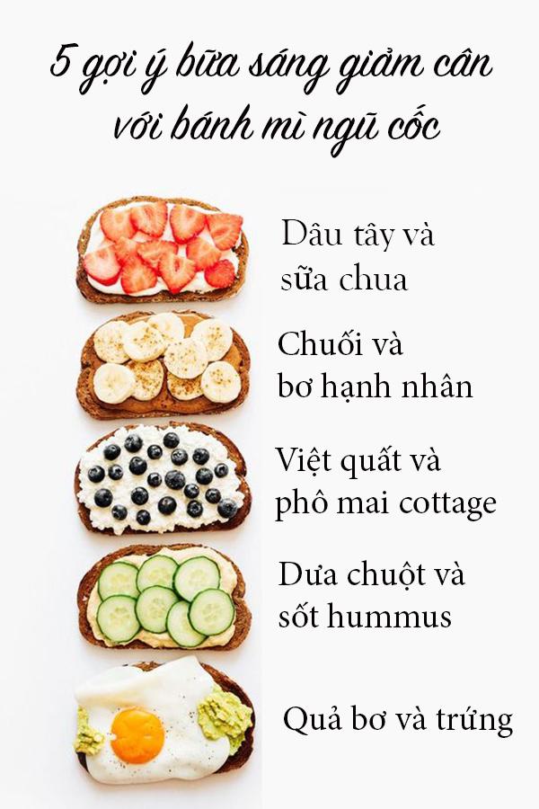 5 gợi ý bữa sáng giảm cân với bánh mì ngũ cốc