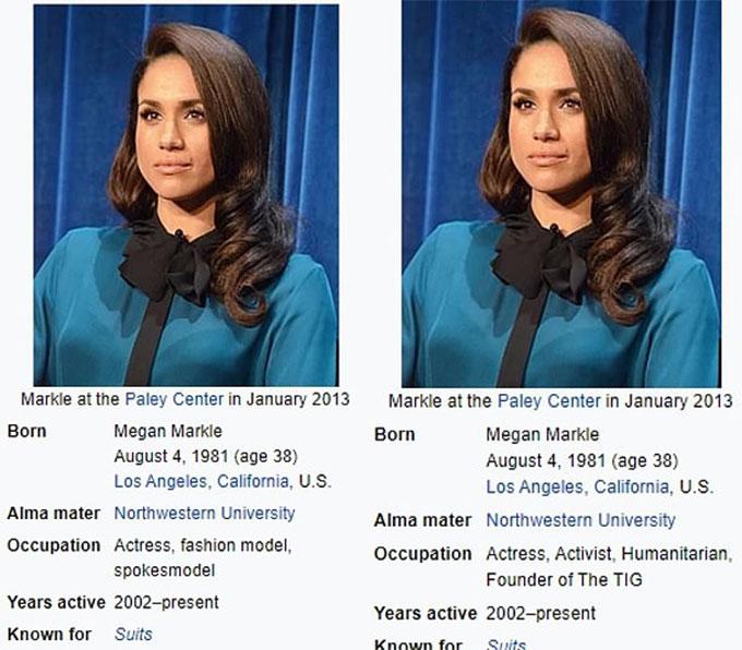 Cột nghề nghiệp của Meghan trước (trái) và sau (phải) ngày 9/10/2016. Ảnh: Wikipedia.