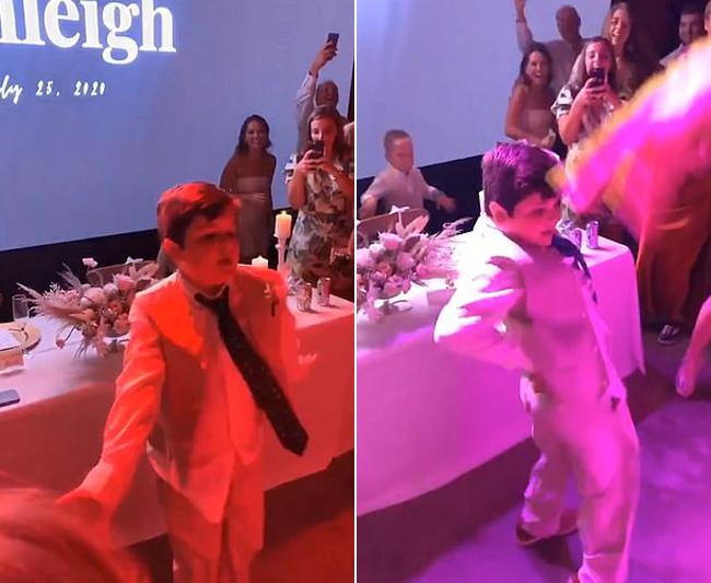 Bé Colby 10 tuổi nhảy trong đám cưới chị gái hôm 25/7 tại bang Texas, Mỹ. Ảnh cắt từ video.