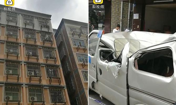 Cú nhảy từ tầng 8 của Zhang khiến chiếc minivan đỗ ở dưới bị bẹp nóc. Ảnh: Pear Video.