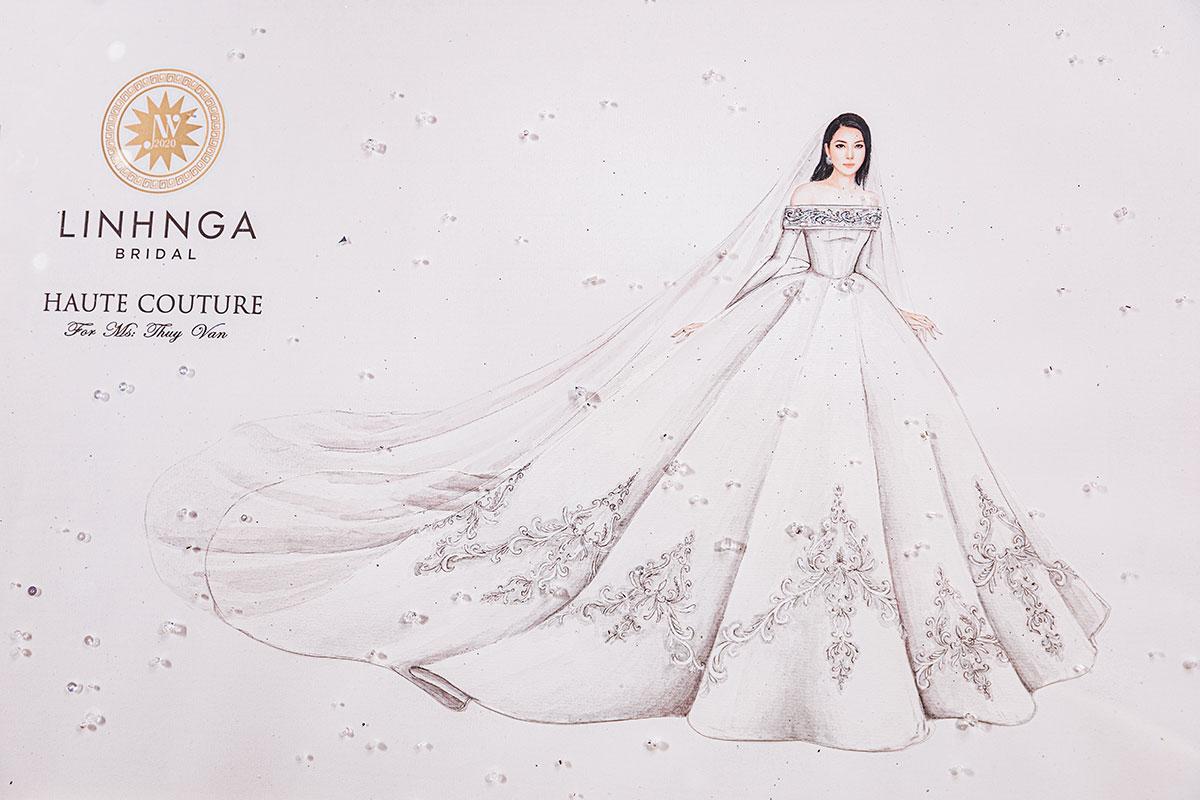 Biết được ý thích của Thúy Vân, nhà thiết Linh Nga phác thảo hình ảnh váy lên giấy để người đẹp có thể hình dung ra chiếc váy trong mơ của mình.