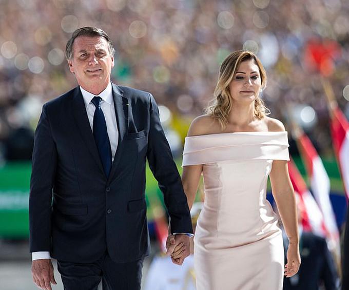 Vợ chồng Tổng thống Brazil Jair Bolsonaro. Ảnh: Rex.