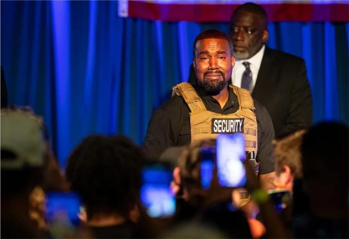 Kanye West trong cuộc vận động tranh cử tổng thống ngày 19/7. Ảnh: AP.