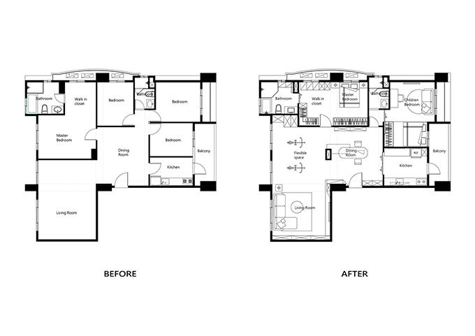 Bản vẽ mô tả căn hộ trước và sau khi được cải tạo. Công trình được phá bỏ bớt tường ngăn, thu hẹp diện tích phòng ngủ lớn, tạo thêm khu vực sinh hoạt chung kết nối phòng khách, khu ăn uống.