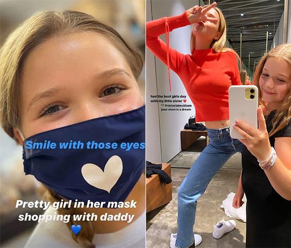 Harper đeo khẩu trang đi chơi với bố và selfie trong cửa hàng với chị dâu tương lai. Ảnh: Instagram.