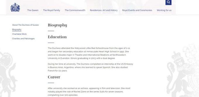 Phần tiểu sử của Meghan hiện không còn trên trang web hoàng gia Anh. Ảnh chụp màn hình.