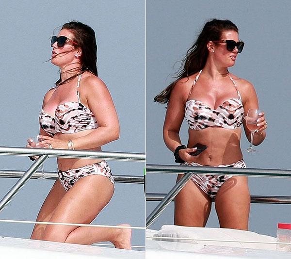 Vài ngày trước, người đẹp Rebekah bức xúc khi bị chê béo trong bộ đồ bơi liền mảnh màu đen. Bỏ ngoài tai những bình phẩm tiêu cực, bà mẹ 5 con vẫn diện bikini khoe đường cong.