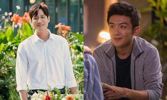 Hứa Huyễn Sơn trong 30 chưa phải là hết (phải) và Lee Tae Oh trong Thế giới hôn nhân đều là nghệ sĩ, được vợ hậu thuẫn sự nghiệp.