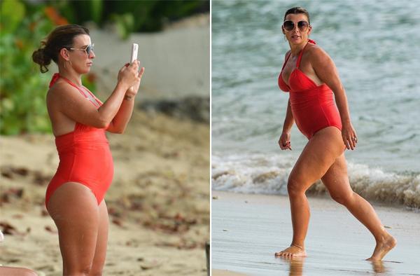 Vợ Rooney lộ bụng to, thân hình đẫy đà hơn trước. Ảnh: The Sun.