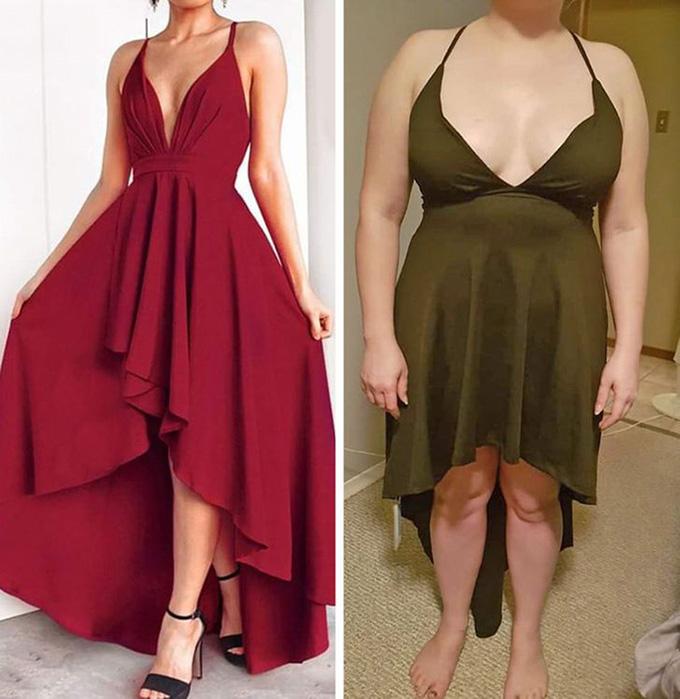 Từ kiểu dáng tới chất liệu giữa chiếc váy nhận được và ảnh trên mạng không có chút nào liên quan.