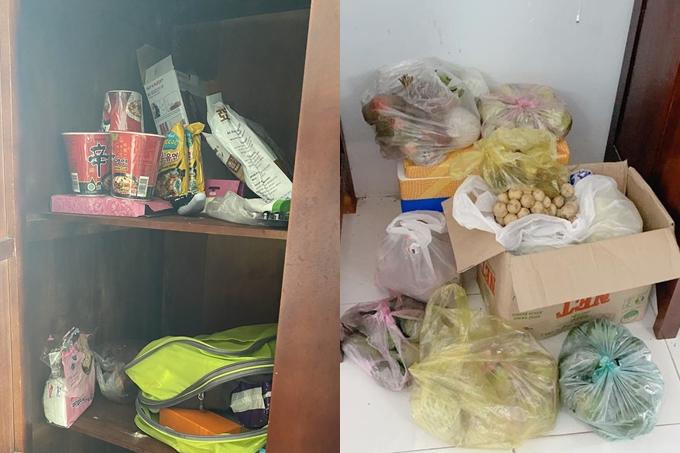 Người đẹp mua nhiều thức ăn dự trữ từ Bali mang về (trái). Song nhiều fan cũng gửi tặng cô trái cây, sữa.
