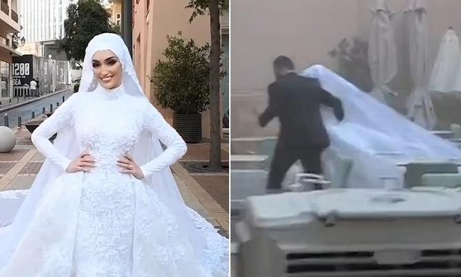 Cô dâu Seblani khi tạo dáng chụp ảnh (trái) và khi tháo chạy cùng chồng trong vụ nổ. Ảnh: MN Productions.