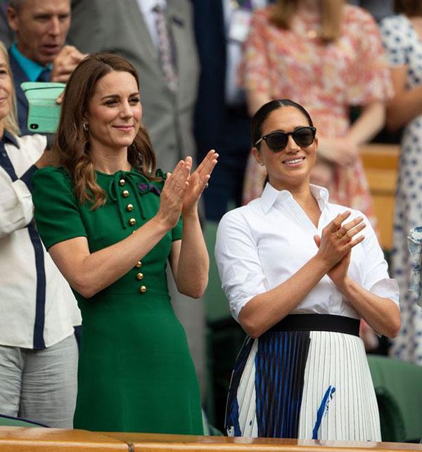 Kate và Meghan đi xem chung kết Wimbledon năm 2019. Ảnh: PA.