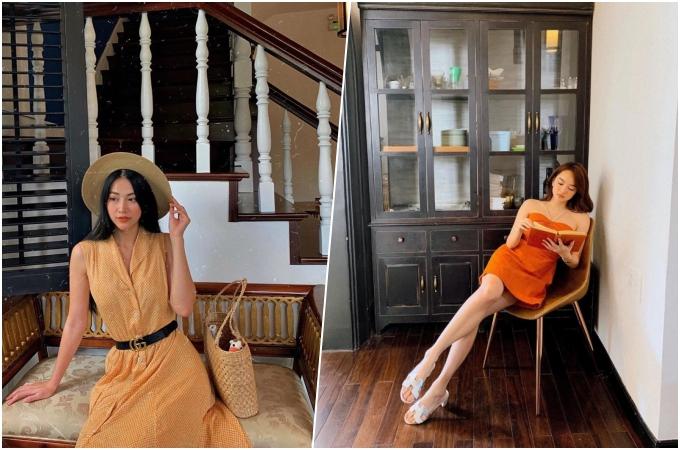 Không gian bên trong trang nhã, nhiều góc chụp ảnh đẹp khiến phải nữ thích mê. Kaity Nguyễn tạo dáng bên một cái tủ kiểu xưa hay bạn có thể chọn ghế trước cầu thang như Hoa hậu Phương Khánh. Buổi tối, nhà hàng thắp đèn vàng ấm áp, thích hợp với những buổi hẹn hò lãng mạn.