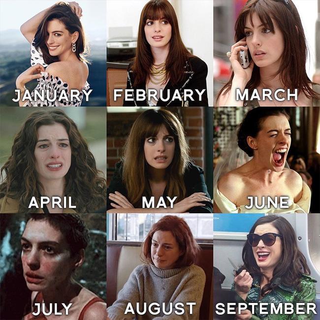 Ane Hathaway khiến fan thích thú với bộ ảnh tương tự, ghép ảnh của cô các bộ phim nổi tiếng từ xinh đẹp, lộng lẫy đến rầu rĩ, thê thảm.