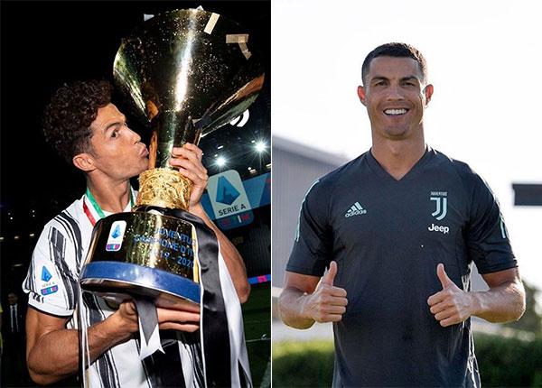 C. Ronaldo với mái tóc xoăn khi nhận Cup vài ngày trước (bên trái) và kiểu đầu mới cắt chuẩn bị cho lượt về Champions League với Lyon. Ảnh: Instagram.