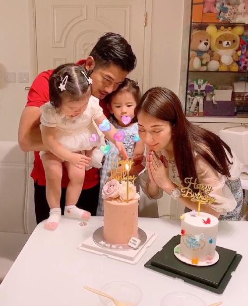 Quách Phú Thành và vợ con trong ngày vợ sinh nhật.
