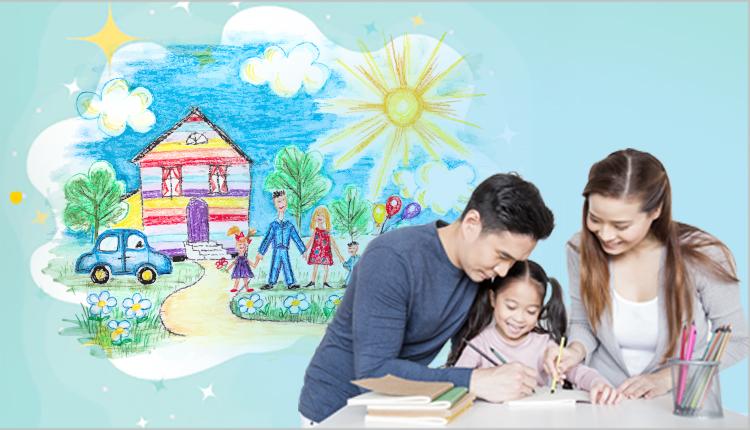 Cha mẹ và bé cùng vẽ ước mơ của gia đình.