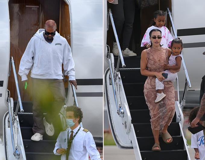 Kanye West và Kim Kardashian về nhà sau kỳ nghỉ dài ở Dominica.