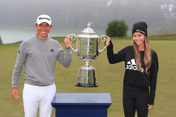 Collin Morikawa mừng chức vô địch PGA Championship hôm cuối tuần cùng bạn gái Katherine Zhu. Ảnh: Instagram.