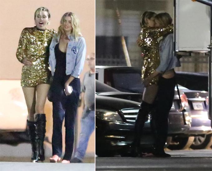 Hai tháng sau, nữ ca sĩ bị bắt gặp hôn thiên thần nội y Victoria's Secret tại trường quay video ca nhạc ở Hollywood. Thời điểm đó, Miley cũng công khai là một người lưỡng tính (yêu cả nam và nữ). Tuy nhiên cuộc tình đồng giới này không kéo dài lâu.
