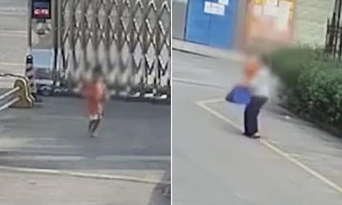 Bé trai bị người phụ nữ lạ mặt ắt cóc khi đi thơ thẩn một mình trên phố. Ảnh: Pear Video.