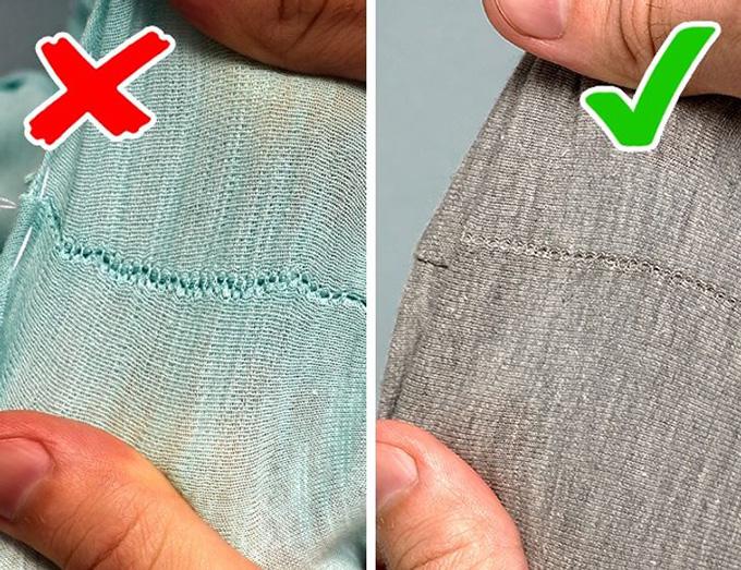 Kéo thử chỗ đường mayCác mặt hàng chất lượng có đường khâu và đường may dày đặc. Thử kéo nhẹ các mảnh đã khâu. Nếu các đường may lộ ra những khoảng trống, bạn đang xem một món đồ bỏ đi.