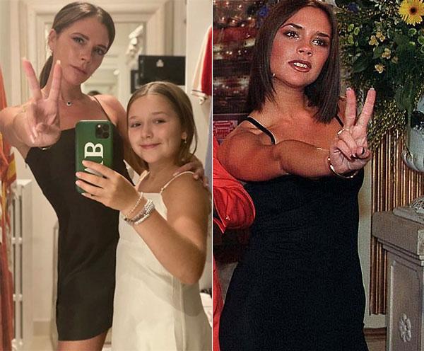 Vic chụp ảnh cùng con gái Harper (trái) tái hiện kiểu chụp ảnh quen thuộc hồi còn trong nhóm Spice Girls. Ảnh: Instagram.