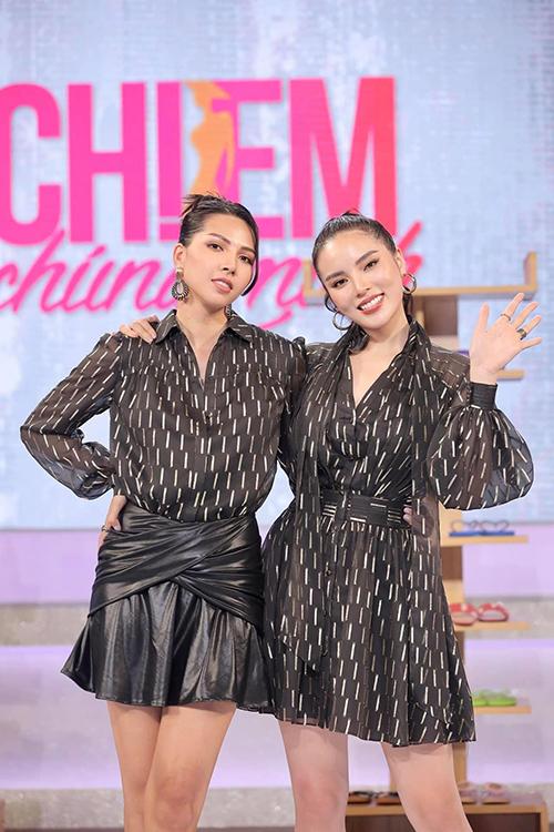 Qua cách chưng diện, Minh Triệu và Kỳ Duyên luôn ghi điểm về sự hài hoà trong cách tạo hình của bộ đôi siêu mẫu - hoa hậu.